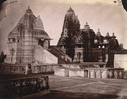Chaturbhuja Temple with the Matangesvara Temple in the foreground, Khajuraho